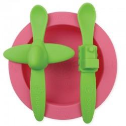 oogaa Pink Rose Meal Set silikonowy talerzyk i 2 łyżeczki
