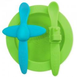 oogaa Green Meal Set silikonowy talerzyk i 2 łyżeczki