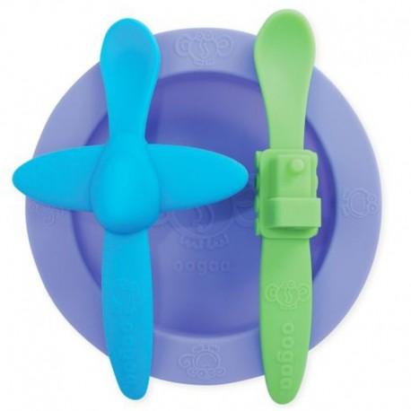oogaa Purple 2 Meal Set silikonowy talerzyk i 2 łyżeczki