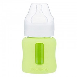 Eco Viking Antykolkowa Butelka Szklana Szeroka dla Niemowląt 120 ml Green