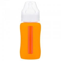 Eco Viking Antykolkowa Butelka Szklana Szeroka dla Niemowląt 240 ml Orange