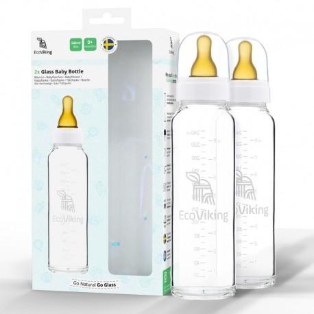 Eco Viking Antykolkowa Butelka Szklana dla Niemowląt 240 ml - 2 szt. 3