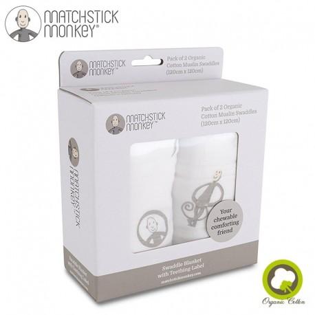 Matchstick Monkey Organic Cotton Swaddle Grey Otulacz 2 szt