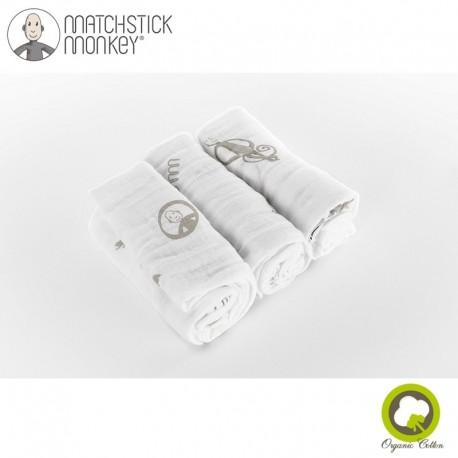 Matchstick Monkey Organic Cotton Muslin Grey Pieluszki muślinowe BIO 3 szt 2