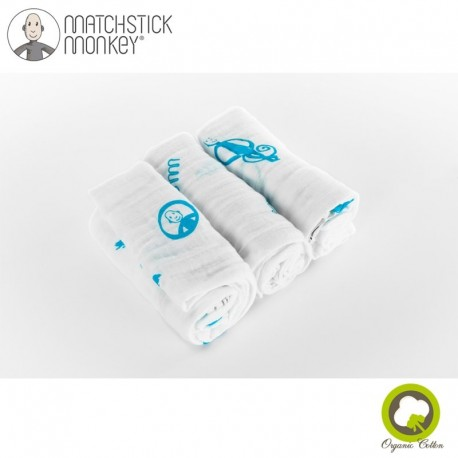 Matchstick Monkey Organic Cotton Muslin Blue Pieluszki muślinowe BIO 3 szt 2