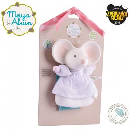 Meiya & Alvin - Grzechotka z gryzakiem z organicznego kauczuku Hevea Meiya Mouse Soft Rattle with Organic Teether Head