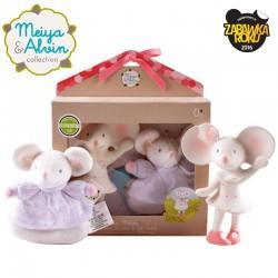 Meiya & Alvin - Zestaw prezentowy Baby Shower Set z miękką grzechotką i gryzakiem dźwiękowym z kauczuku Hevea Meiya Mouse