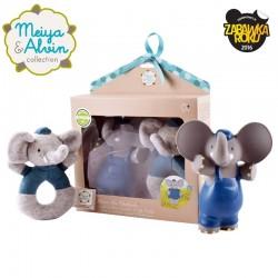 Meiya & Alvin - Alvin Elephant Organic Babyshower Set z grzechotką