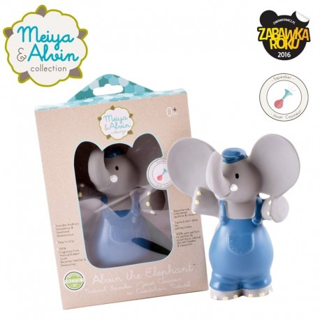 Meiya & Alvin - gryzak piszczący z organicznego kauczuku Hevea Alvin Elephant Organic Rubber Squeaker