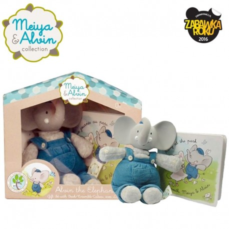 Meiya & Alvin - Alvin Elephant Mini Deluxe Teether Gift Set with Book zwycięzca konkursu ZABAWKA ROKU 2016