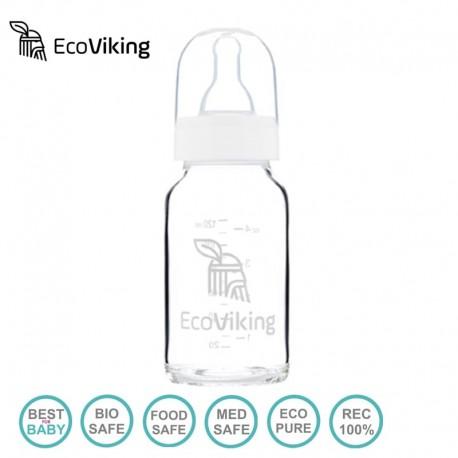 Eco Viking Antykolkowa Butelka Szklana dla Niemowląt 120 ml ze smoczkiem silikonowym 2