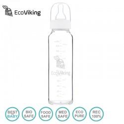 Eco Viking Antykolkowa Butelka Szklana dla Niemowląt 240 ml ze smoczkiem silikonowym 2