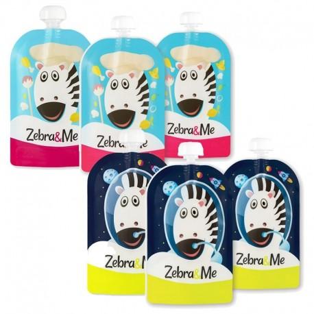Zebra & Me 6 PACK II Saszetki do karmienia wielorazowe