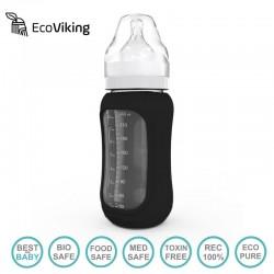 Eco Viking Antykolkowa Butelka Szklana Szeroka dla Niemowląt 240 ml Black Velvet