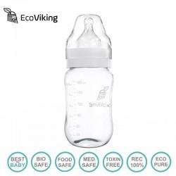 Eco Viking Antykolkowa Butelka Szklana Szeroka dla Niemowląt 180 ml