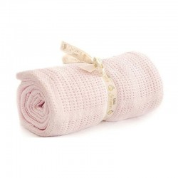 Bizzi Growin Pram Cellular Blanket Pink kocyk do gondoli i kołyski