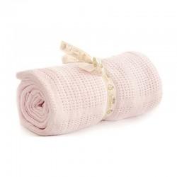Bizzi Growin Pram Cellular Blanket Pink kocyk do gondoli i kołyski