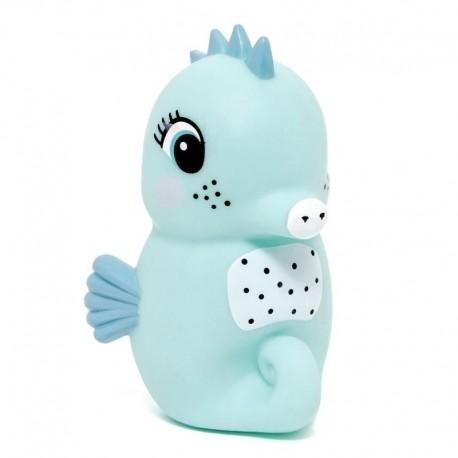 Petit Monkey - Miękka pastelowa lampka nocna LED Konik morski błękitny