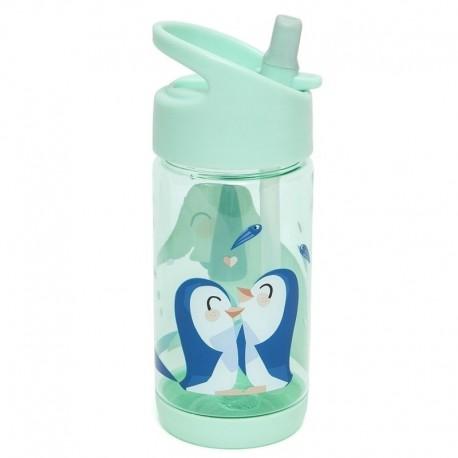 Petit Monkey - Bidon ze składanym ustnikiem i słomką Słoń i Pingwiny