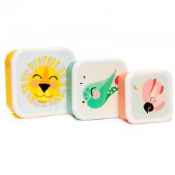 Petit Monkey - 3 śniadaniówki lunchboxy Lew, Papuga i Krokodyl
