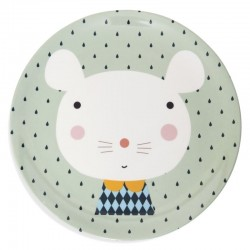 Petit Monkey - talerz płaski z melaminy Myszka i Krople