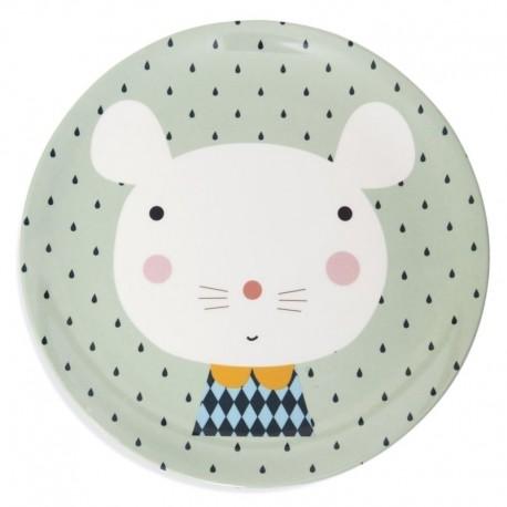 Petit Monkey - talerz płaski z melaminy Myszka i Kropki