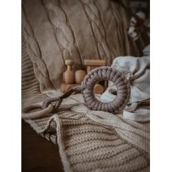 Hi Little One - gryzak sznurkowy 2w1 2 Rings Teether wood and cotton Dark Oak