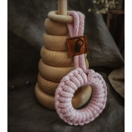 Hi Little One - gryzak sznurkowy 2w1 2 Rings Teether wood and cotton Baby Pink