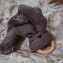 Hi Little One - Przytulanka muślinowa z gryzakiem Sleepy Bunny cozy muslin with wood teether Grey
