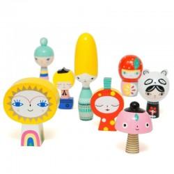 Petit Monkey - Mr Sun & Friends klocki lalki drewniane 8 szt.
