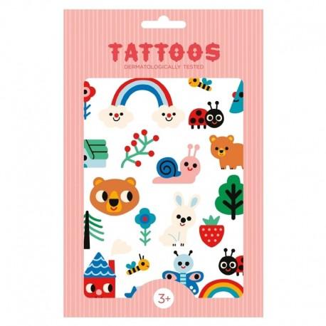 Petit Monkey - Tattoo Nature Friends imprezowy zestaw tatuaży dla dzieci