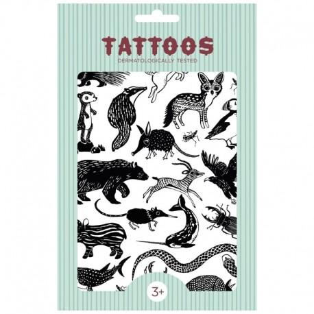 Petit Monkey - Tattoo Black Animals imprezowy zestaw tatuaży dla dzieci
