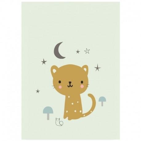 Petit Monkey - Poster Leopard pastel mint 42 x 29.7 cm