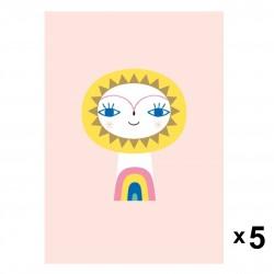 Petit Monkey - Mr Sun zaproszenia urodzinowe zestaw 5 szt.