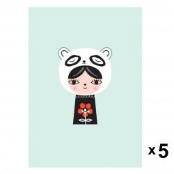Petit Monkey - Miss Panda zaproszenia urodzinowe zestaw 5 szt.