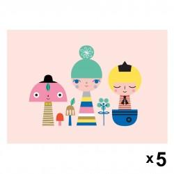 Petit Monkey - Sunshine gang zaproszenia urodzinowe zestaw 5 szt.