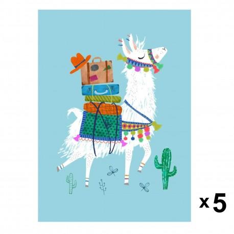 Petit Monkey - 5 zaproszeń urodzinowych Travelling Lama