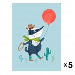 Petit Monkey - Badger zaproszenia urodzinowe zestaw 5 szt.