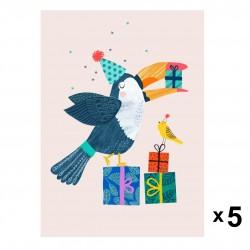 Petit Monkey - Toucan zaproszenia urodzinowe zestaw 5 szt.
