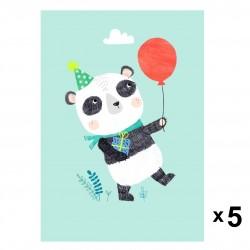 Petit Monkey - Panda zaproszenia urodzinowe zestaw 5 szt.