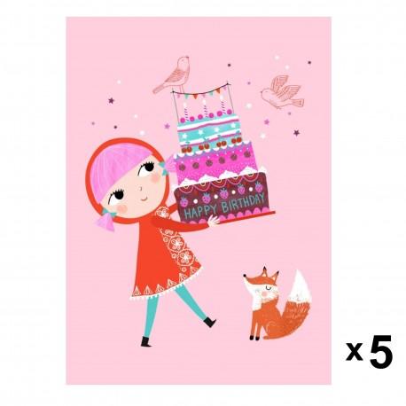 Petit Monkey - Happy Birthday zaproszenia urodzinowe zestaw 5 szt.
