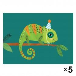 Petit Monkey - Cameleon zaproszenia urodzinowe zestaw 5 szt.