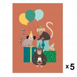 Petit Monkey - Monkey bunch zaproszenia urodzinowe zestaw 5 szt.