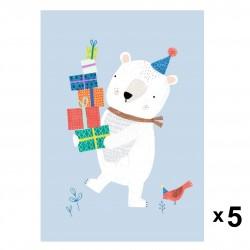 Petit Monkey - Polar Bear zaproszenia urodzinowe zestaw 5 szt.