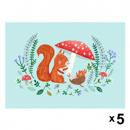 Petit Monkey - Squirrel zaproszenia urodzinowe zestaw 5 szt.