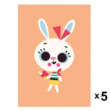 Petit Monkey - Rabbit zaproszenia urodzinowe zestaw 5 szt.