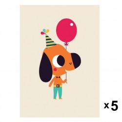Petit Monkey - Dog zaproszenia urodzinowe zestaw 5 szt.