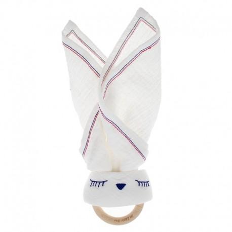Hi Little One - Przytulanka muślinowa z gryzakiem Sleepy Bunny cozy muslin with wood teether White