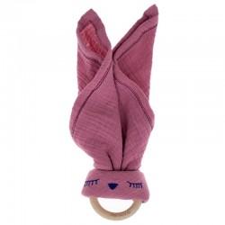 Hi Little One - Przytulanka z organicznej BIO bawełny GOTS z gryzakiem Sleepy Bunny cozy muslin with wood teether 2in1 Baby Pink