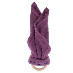 Hi Little One - Przytulanka z organicznej BIO bawełny GOTS z gryzakiem Sleepy Bunny cozy muslin with wood teether 2in Lavender